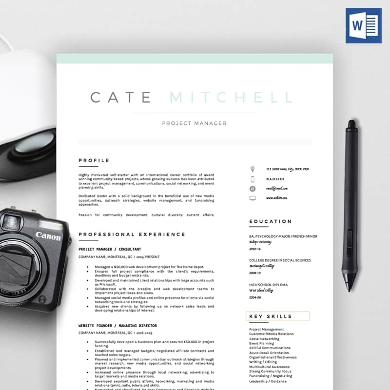 Cate Mitchell CV Template